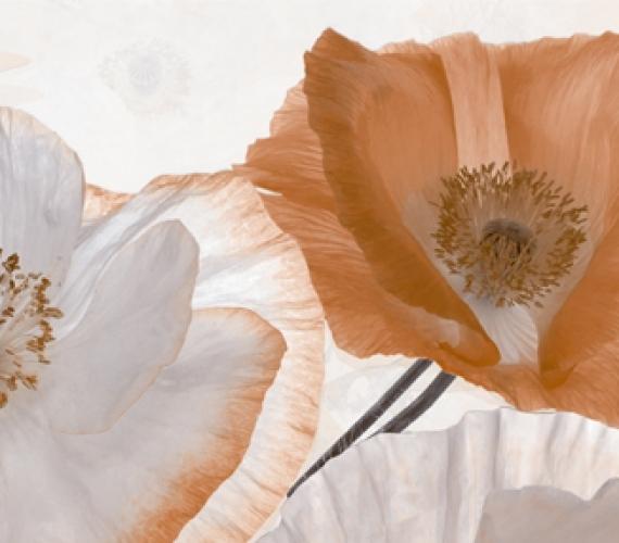 Decor faianta flori maro PEONIA 20x60 cm BEIGE P1