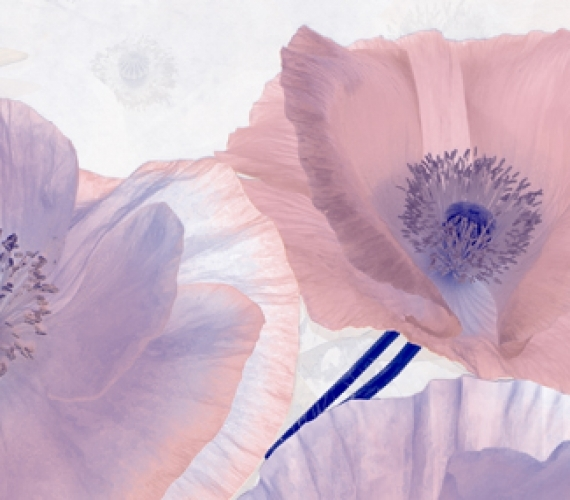 Decor faianta flori mov PEONIA 20x60 cm MALVA P1