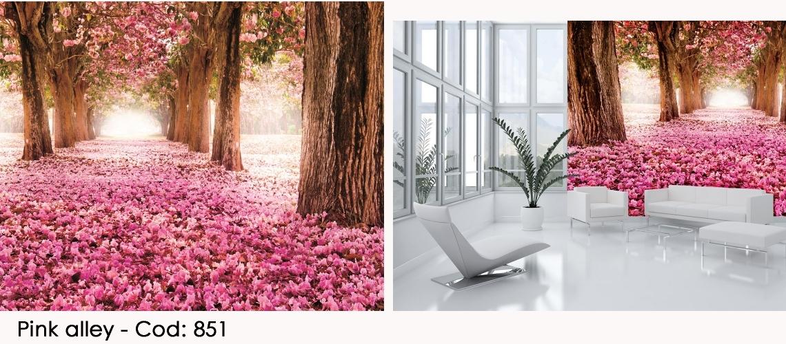 Fototapet copaci cu flori roz