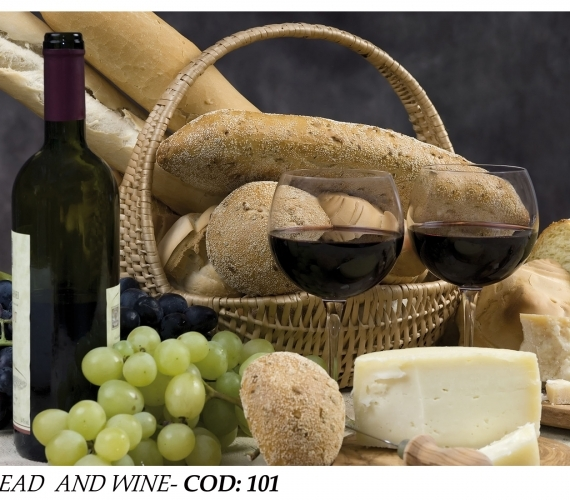 Fototapet-bucatarie-paine-si-vin-BREAD-AND-WINE-cod-101