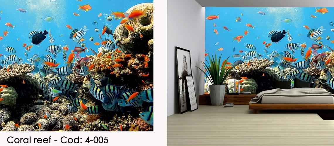 Fototapet peisaj marin cu pesti si recif corali