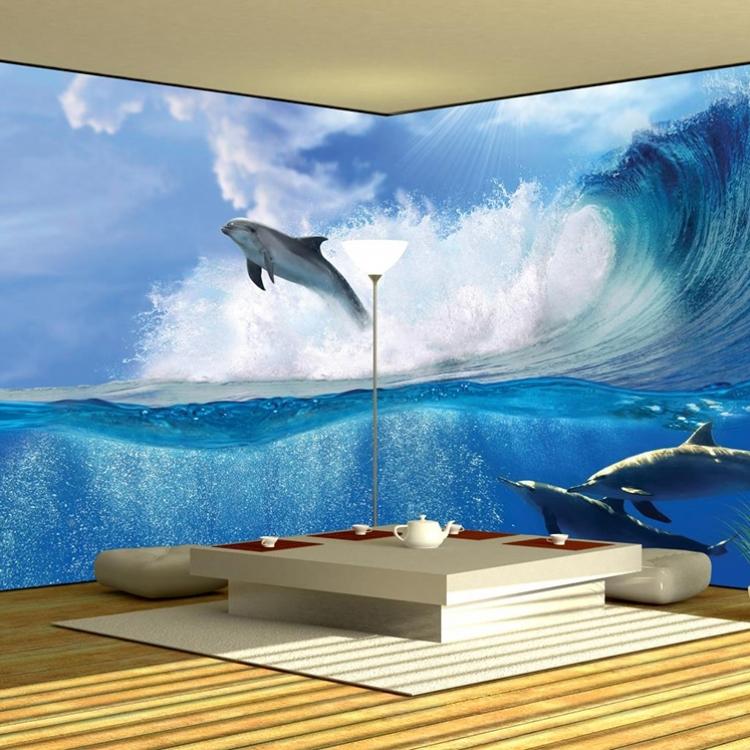 Fototapet de colt cu valuri si delfini