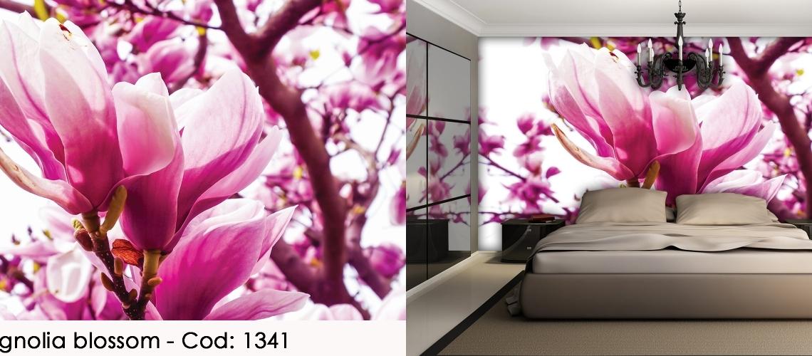 Fototapet copac de magnolie cu flori roz