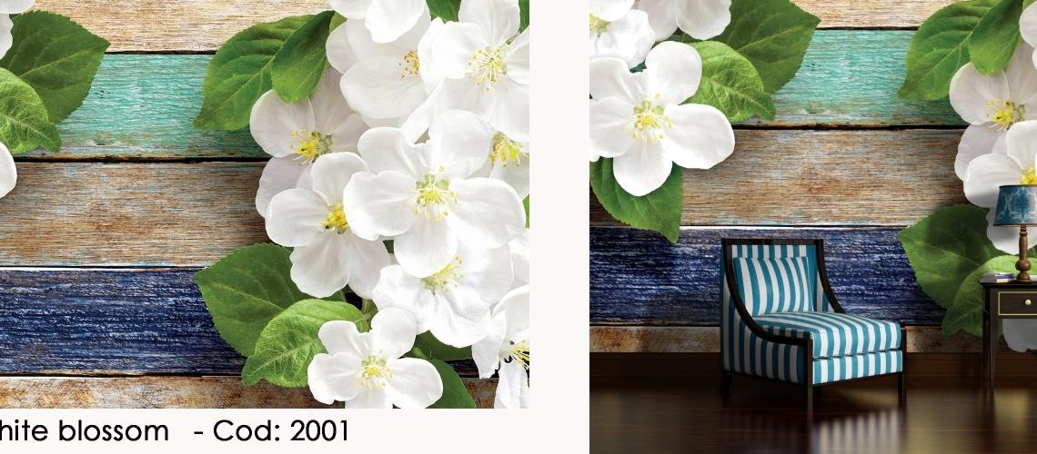 Fototapet flori albe de cires