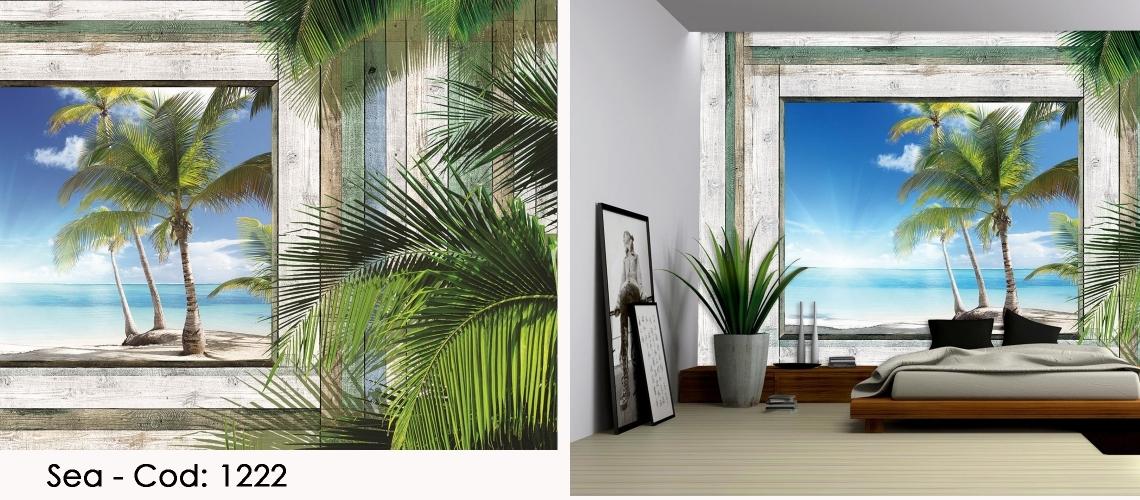 Fototapet plaja cu palmieri
