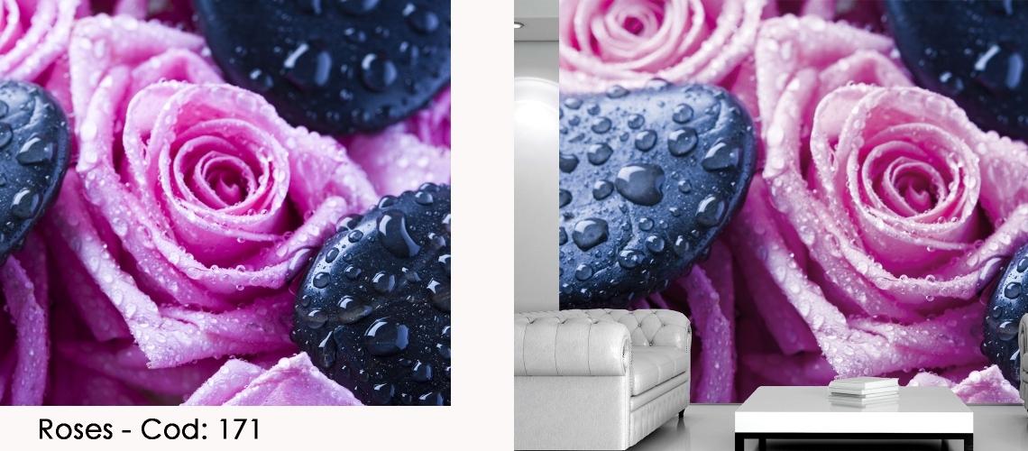Fototapet trandafiri roz si roua