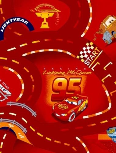 CARS - Mocheta rosie cu masinute pentru camera copii gama DISNEY