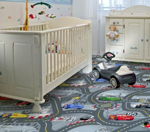 CARS - Mocheta gri cu masinute si strazi pentru copii