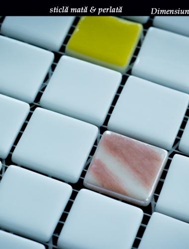 Mozaic alb din sticla cu pastile colorate Mix Joy dim placa 31,5 x 31,5 cm