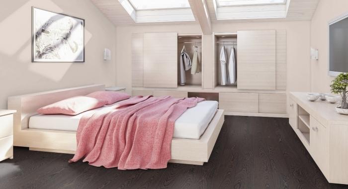 WENGE GOLD  - amenajare dormitor cu parchet laminat lucios wenge