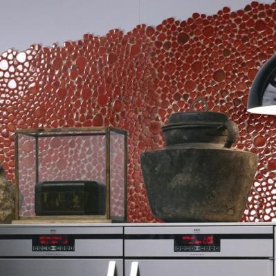 Perete placat cu mozaic din marmura rosie - BLISS ART DESIGN