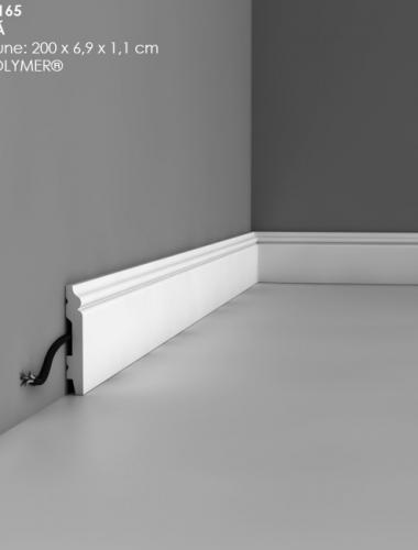 Plinta alba flexibila cu canal cablu din duropolimer cod SX165