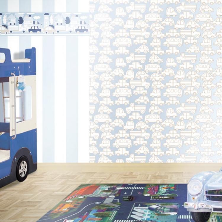 Tapet lavabil albastru cu masinute pentru copii gama BIM BUM BAM