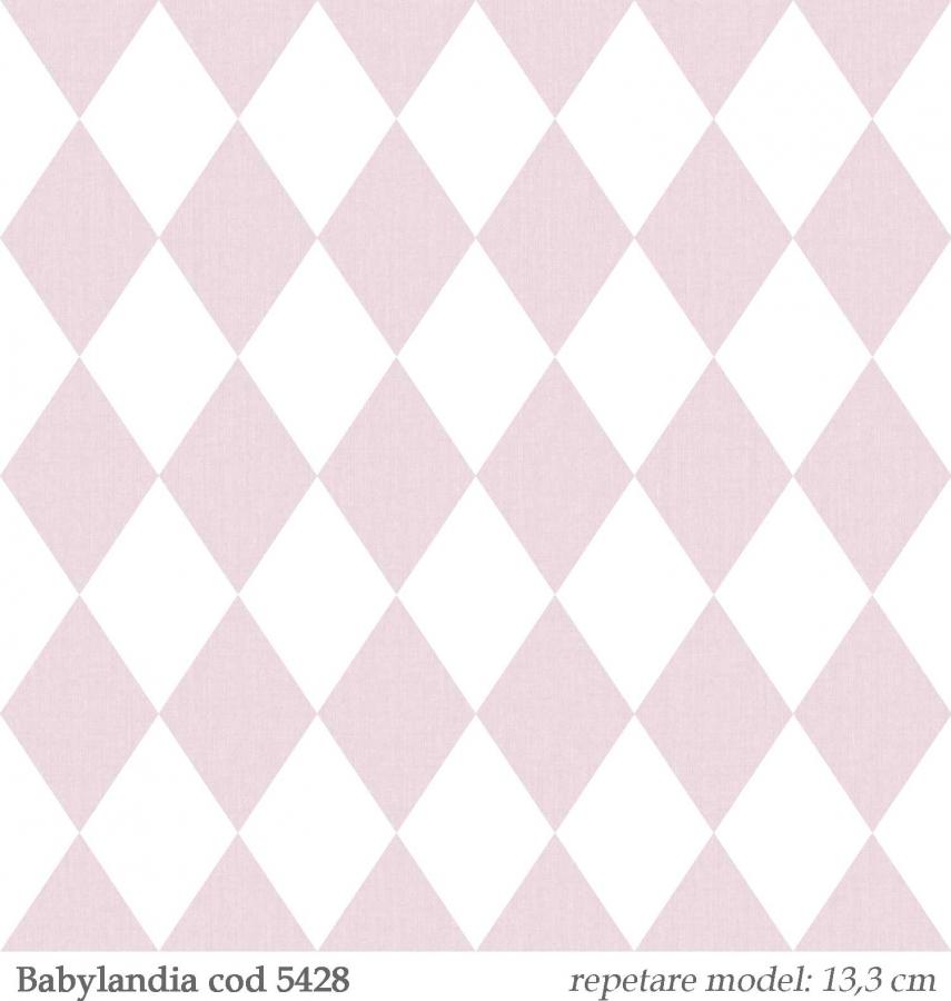 Tapet-cu-romburi-roz-pentru-copii--gama-Babylandia-cristiana-masi-cod-5428