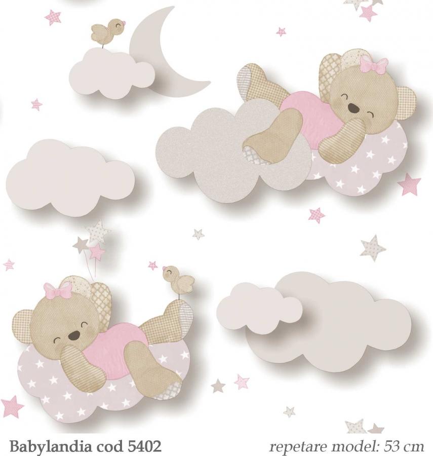 Tapet-cu-ursuleti-roz-pentru-camera-copilului-Babylandia-Cristiana-Masi-cod-5402
