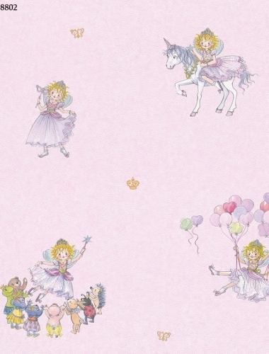 Tapet roz cu printese pentru camera fetite  gama VILLA COPENRATH