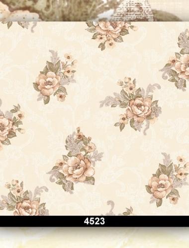 Tapet dantela cu flori bej pentru dormitor 4523