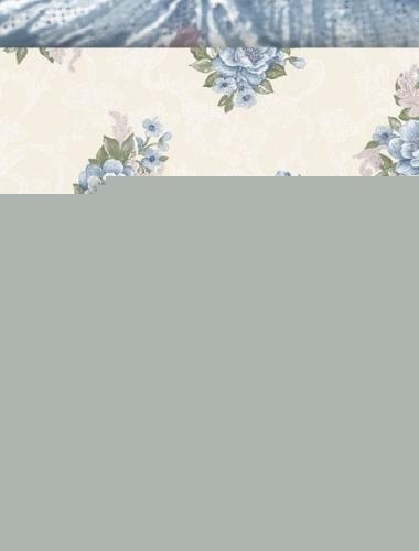 Tapet dantela cu trandafiri albastri pentru dormitor si living 4526