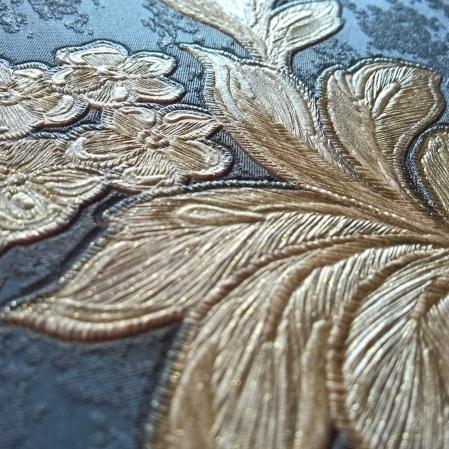 Tapet din vinil lavabil albastru cu flori aurii gama DESIDERIA