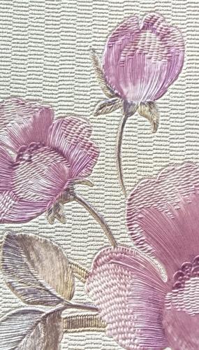 Tapet din vinil lavabil culoare crem cu maci roz gama DESIDERIA
