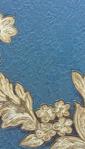 Tapet din vinil lavabil model albastru cu flori aurii gama DESIDERIA