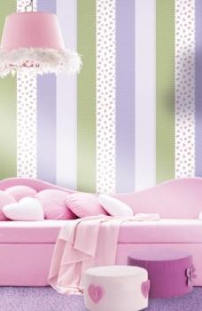 Tapet lavabil cu dungi colorate pentru copii gama BIM BUM BAM