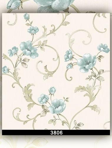 Tapet lavabil alb cu flori albastre pentru dormitor si living gama DESIDERIA cod 3806