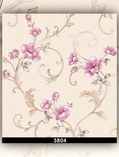 Tapet lavabil alb cu flori roz pentru dormitor si living gama DESIDERIA cod 3804