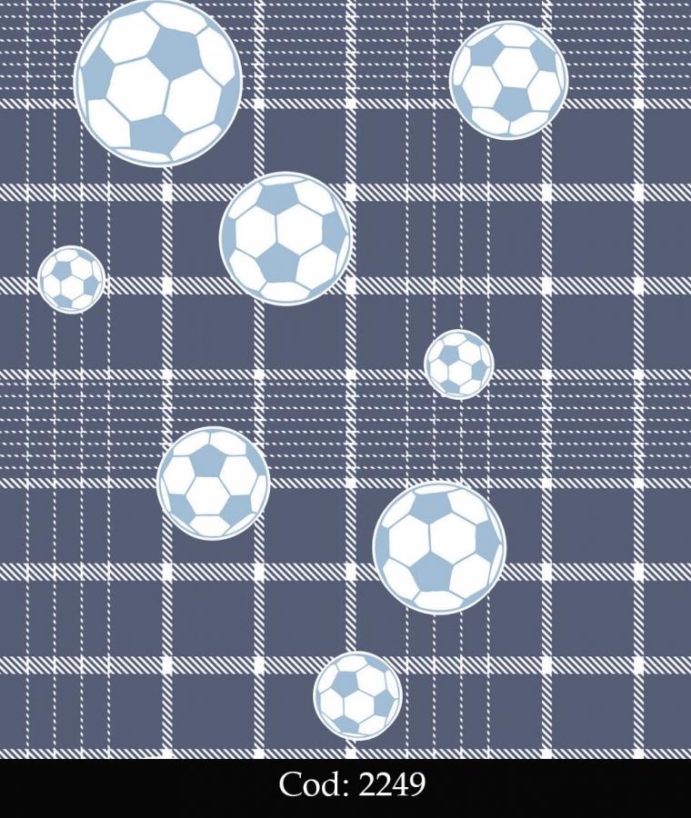Tapet lavabil albastru cu mingi fotbal pentru baieti cod 2249 gama BIM BUM BAM - BLISS ART