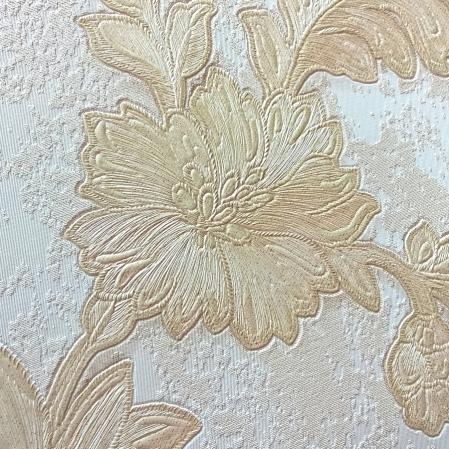 Tapet lavabil bej cu flori aurii gama DESIDERIA