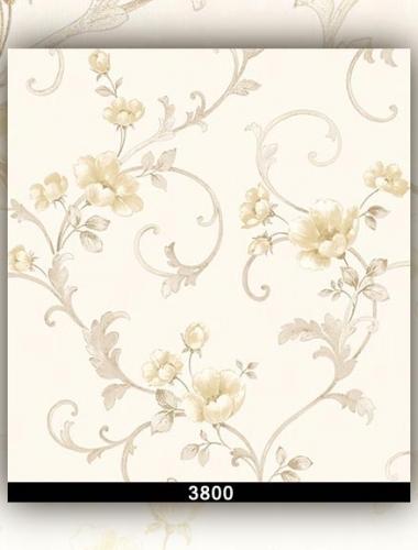 Tapet lavabil bej cu flori pentru dormitor si living gama DESIDERIA cod 3800