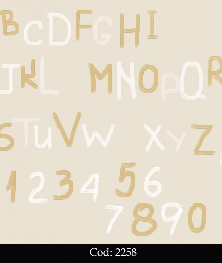 Tapet lavabil bej cu litere pentru copii cod 2258 gama BIM BUM BAM - BLISS ART