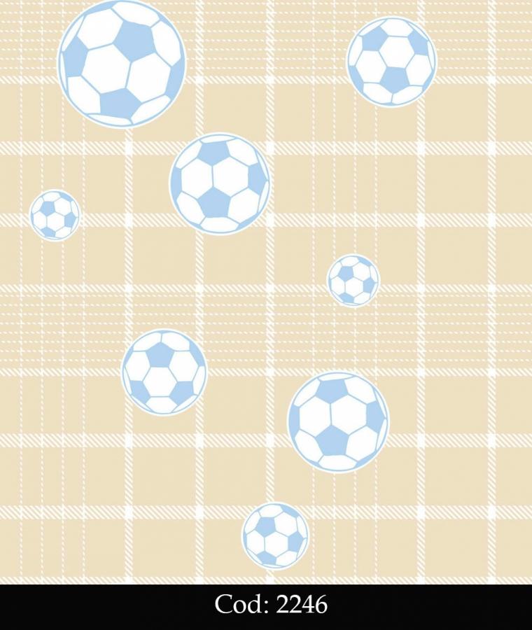 Tapet lavabil bej cu mingi fotbal albastre pentru baieti cod 2246 gama BIM BUM BAM - BLISS ART