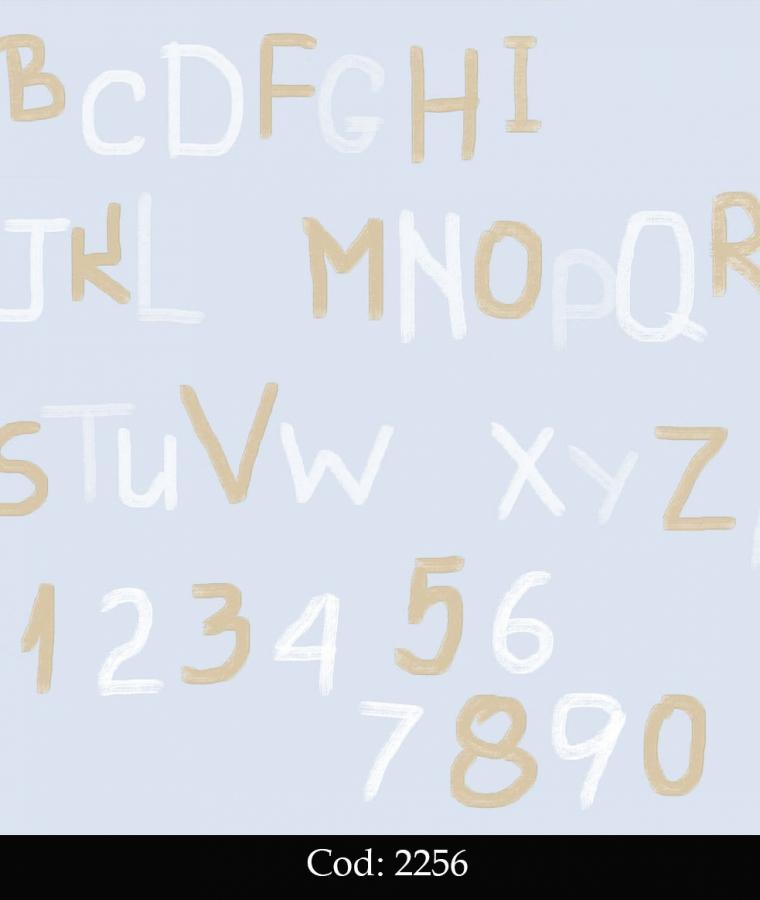 Tapet lavabil bleu cu litere  pentru copii cod 2256 gama BIM BUM BAM - BLISS ART
