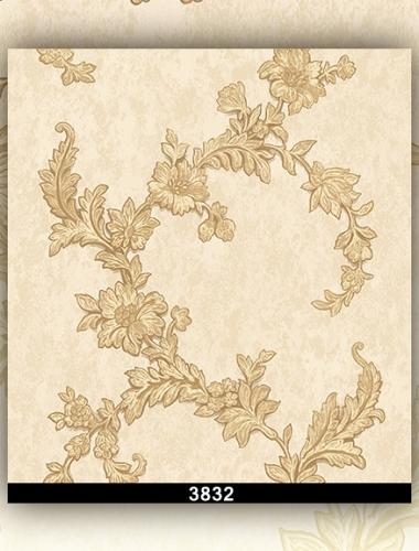 Tapet lavabil crem cu flori aurii pentru dormitor si living gama DESIDERIA cod 3832