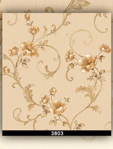 Tapet lavabil crem cu flori pentru dormitor si living gama DESIDERIA cod 3803