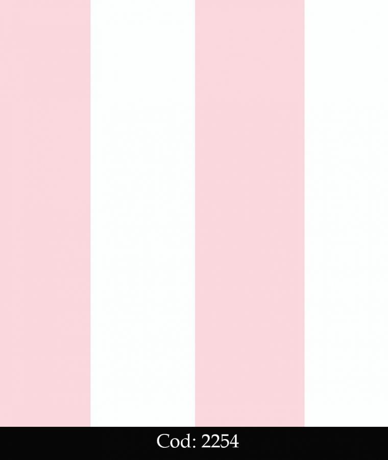 Tapet lavabil cu dungi roz si albe pentru copii cod 2254 gama BIM BUM BAM - BLISS ART