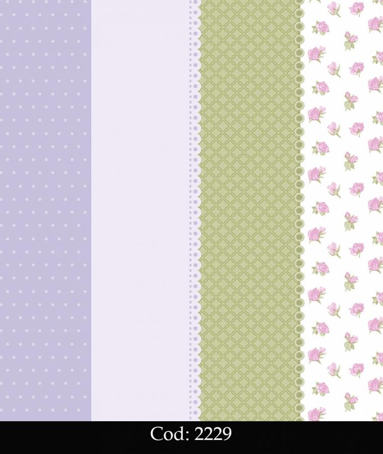 Tapet lavabil cu dungi si trandafiri roz pentru fetite cod 2229 gama BIM BUM BAM - BLISS ART