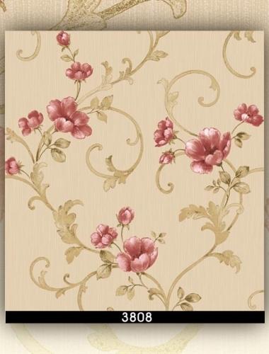 Tapet lavabil cu flori rosii pentru dormitor si living gama DESIDERIA cod 3808