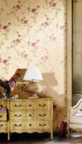 Tapet lavabil cu flori rosii pentru dormitor si living gama DESIDERIA