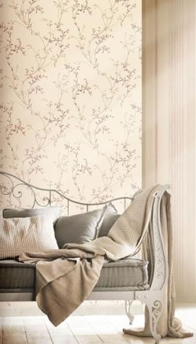 Tapet lavabil cu ramuri roz inflorite pentru dormitor si living gama DESIDERIA