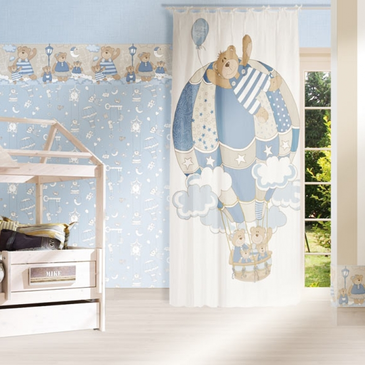Tapet lavabil albastru cu ursuleti pentru copii gama BIM BUM BAM
