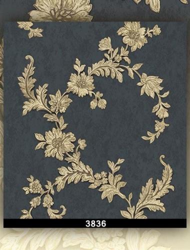 Tapet lavabil culoare albastru cu trandafiri aurii gama DESIDERIA cod  3883