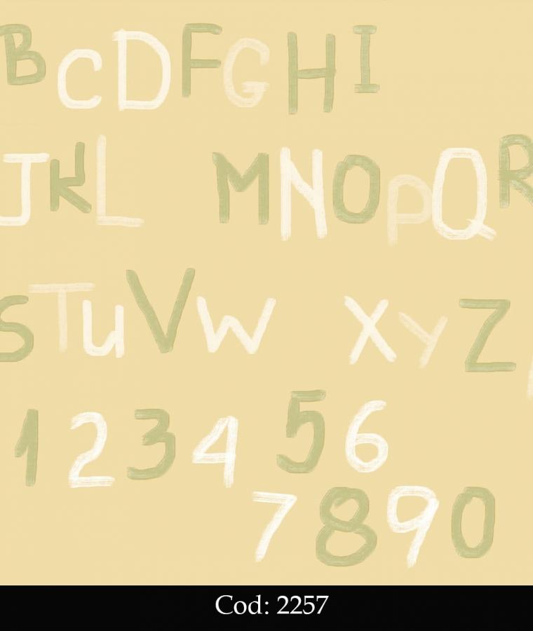 Tapet lavabil galben cu litere pentru copii cod 2257 gama BIM BUM BAM - BLISS ART