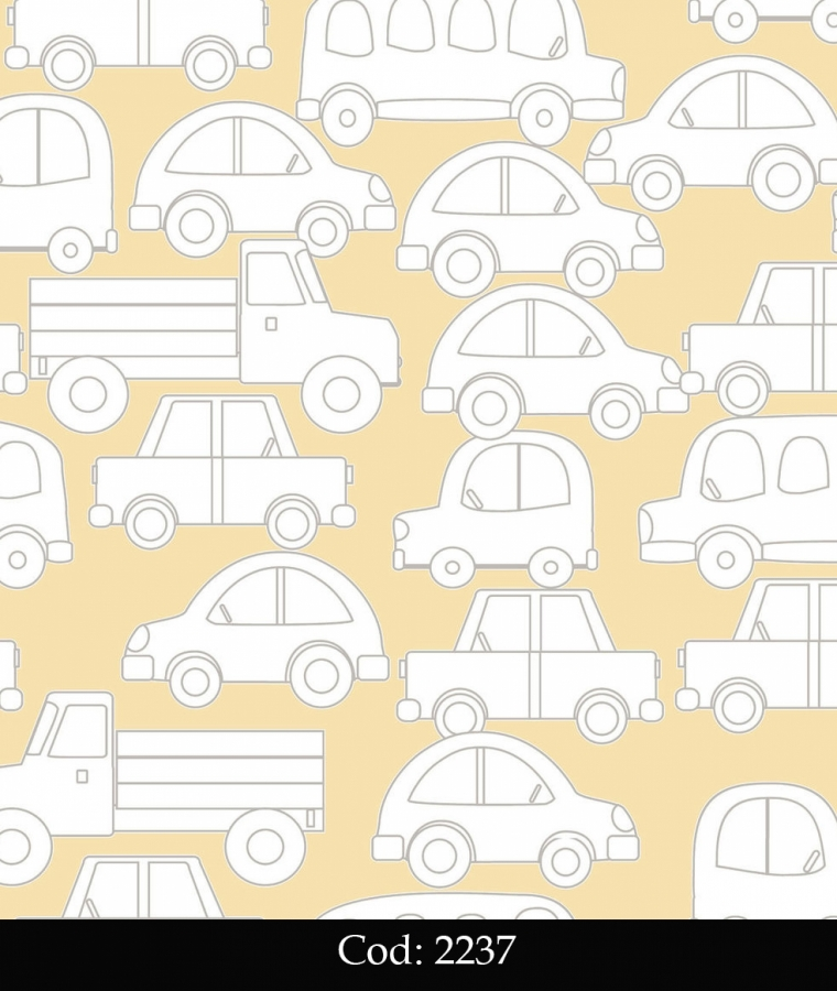 Tapet lavabil galben cu masinute pentru copii cod 2237 gama BIM BUM BAM - BLISS ART