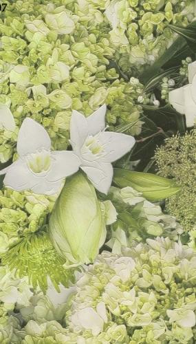 Tapet lavabil pentru bucatarie culoare verde cu flori albe cod TM885507