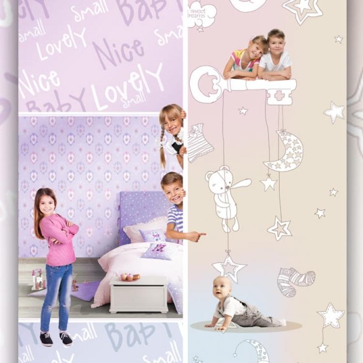 Tapet lavabil roz cu scris pentru camera copii gama BIM BUM BAM