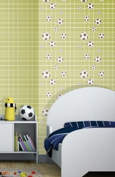 Tapet lavabil pentru copii culoare verde mingi fotbal gama BIM BUM BAM