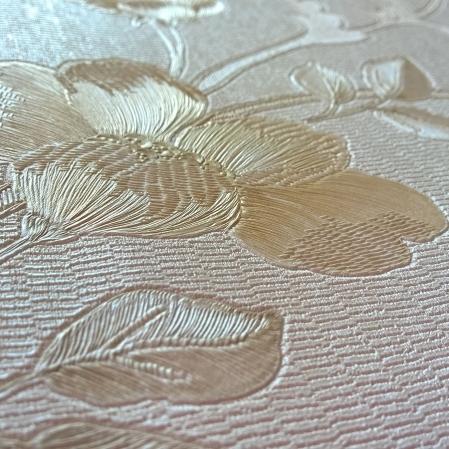 Tapet lavabil pentru dormitor culoare bej cu flori gama DESIDERIA