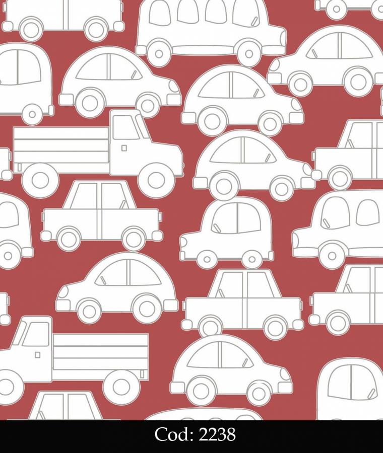 Tapet lavabil rosu cu masinute pentru copii cod 2238 gama BIM BUM BAM - BLISS ART